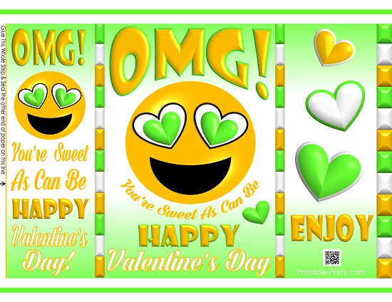 graphic about Printable Chip Bags named printable-potato-chip-baggage-pleased-valentines-working day-present-emoji-5