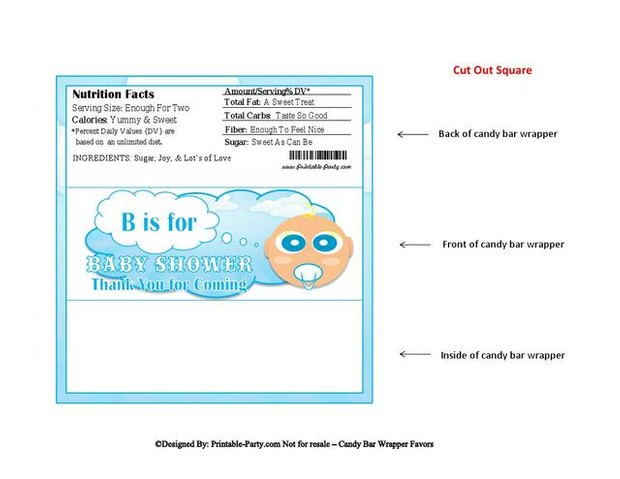 Clouds In The Sky Boy Baby Shower Candy Wrapper Favor