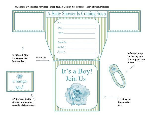 picture relating to Printable Baby Shower Invitations Boy identified as eco-friendly-stripes-blue-flower-diaper-boy-printable-boy or girl-shower-invitation