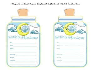 printable-blue-clouds-moon-boy-babies-bottle-shaped-baby-shower-invitations