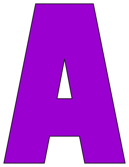 8X10.5  Inch Purple Printable Letters A-Z, 0-9