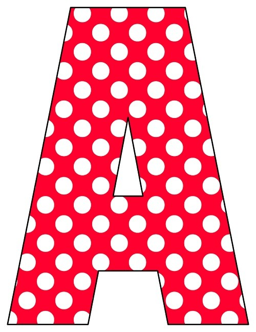 8X10.5  Inch Red Polka Dot Printable Letters A-Z, 0-9