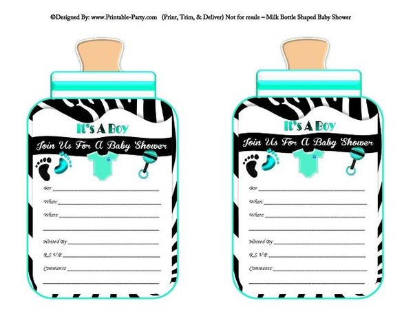 printable-black-aqua-zebra-feet-boy-baby-bottle-shaped-baby-shower-invitations