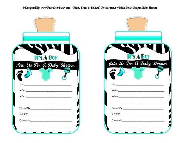 printable-black-aqua-zebra-feet-boy-baby-bottle-shaped-baby-shower-invitations