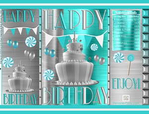 photograph relating to Chip Teacup Printable named printable-potato-chip-baggage-favors-turquoise-silver-birthday-1