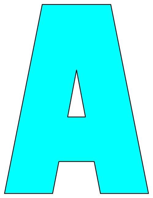 8X10.5  Inch Aqua Printable Letters A-Z, 0-9