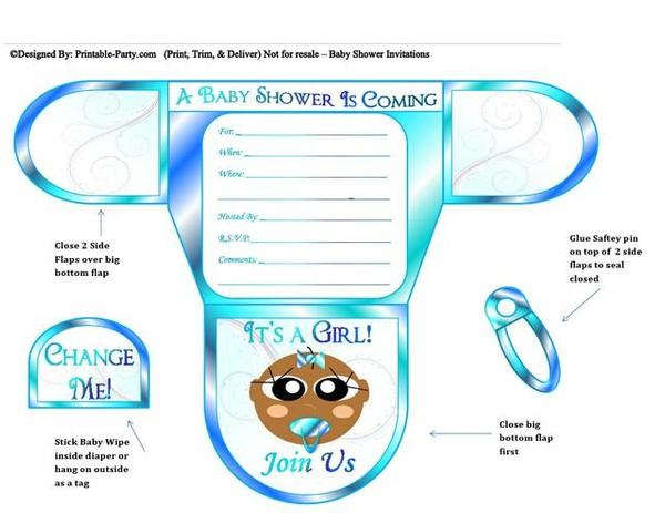 Ocean Blue Chocolate Girl Diaper Baby Shower Invite