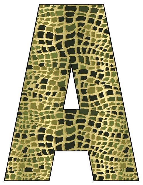 8X10.5  Inch Alligator Printable Letters A-Z, 0-9