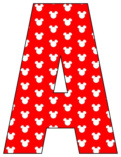 8X10.5  Inch Red White Mouse Head Printable Letters A-Z, 0-9