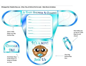 Ocean Blue Chocolate Boys Baby Shower Invites