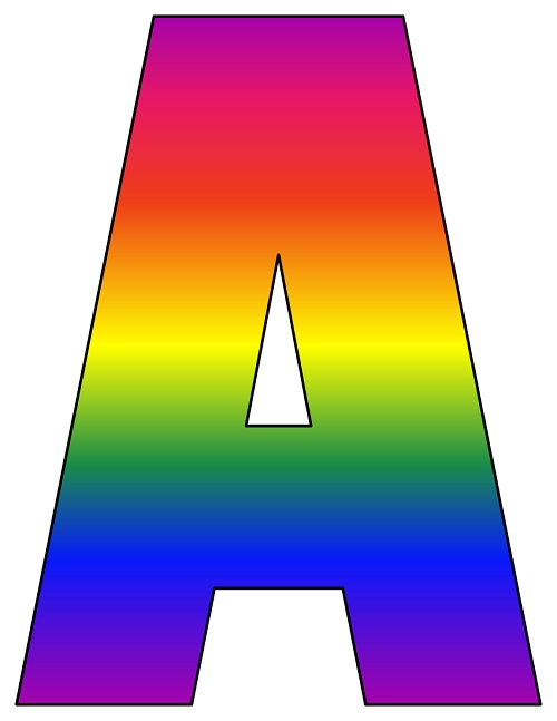 graphic relating to Rainbow Printable called 8X10.5 Inch Rainbow Printable Letters A-Z, 0-9