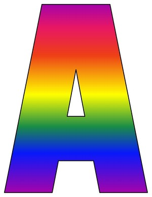 8X10.5  Inch Rainbow Printable Letters A-Z, 0-9