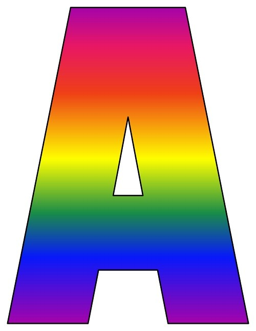 8x10 5 inch rainbow printable letters a-z  0-9