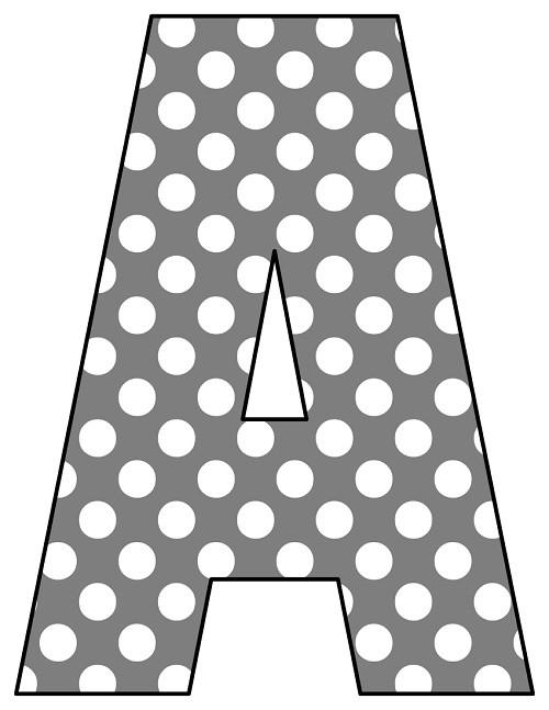 8X10.5  Inch Grey White Polka Dot Printable Letters A-Z, 0-9
