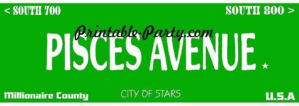 Pisces Zodiac Street Signage JPEG Image