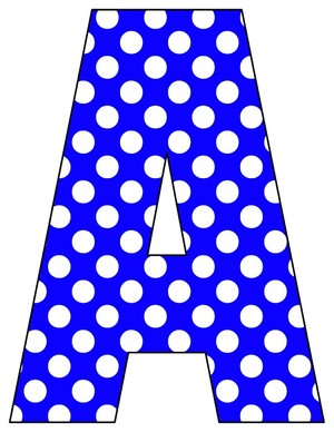 8X10.5  Inch Royal Blue Polka Dot Printable Letters A-Z, 0-9