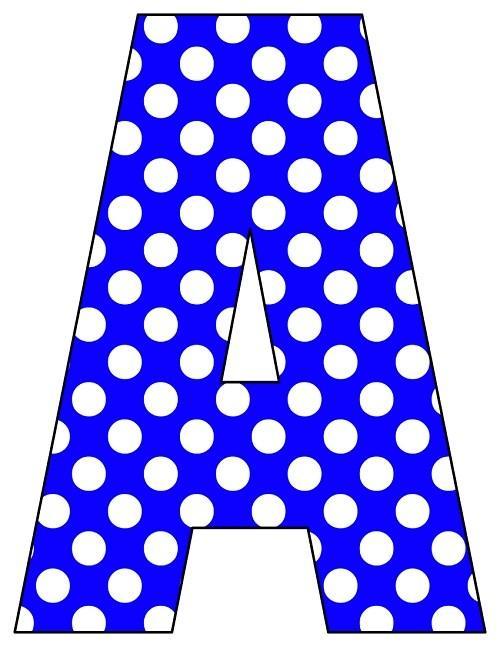 8X10.5 Inch Royal Blue Polka Dot Printable Letters A- - Printable ...