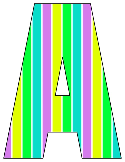 8X10.5  Inch Purple Yellow Lime Blue Stripe Printable Letters A-Z, 0-9