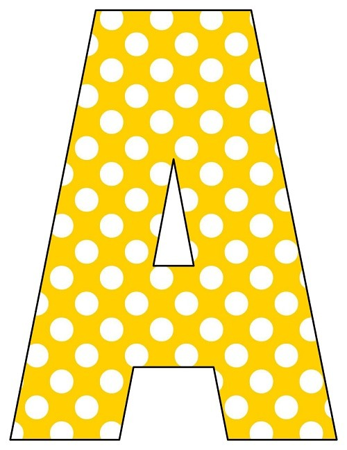 8X10.5  Inch Yellow Polka Dot Printable Letters A-Z, 0-9