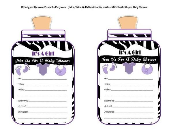 printable-black-purple-zebra-feet-girl-baby-bottle-shaped-baby-shower-invitations