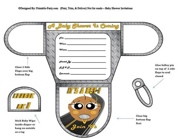 Racer Chocolate Boy Baby Shower Diaper Invites