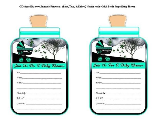 printable-aqua-black-carriage-stroller-girl-baby-bottle-shaped-baby-shower-invitations