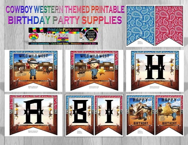Cowboy Western Themed Printable Party Supply Pack