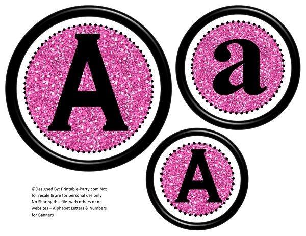 6-inch-black-pink-glitter-circle-printable-banner-lett ...