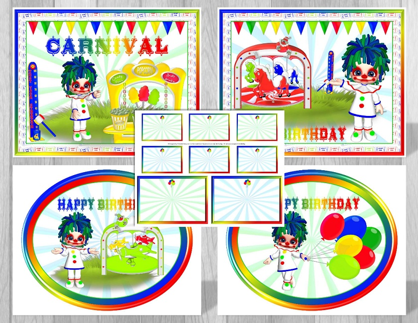 image about Carnival Printable named Printable Carnival Topic Occasion Decorations Blue Clown