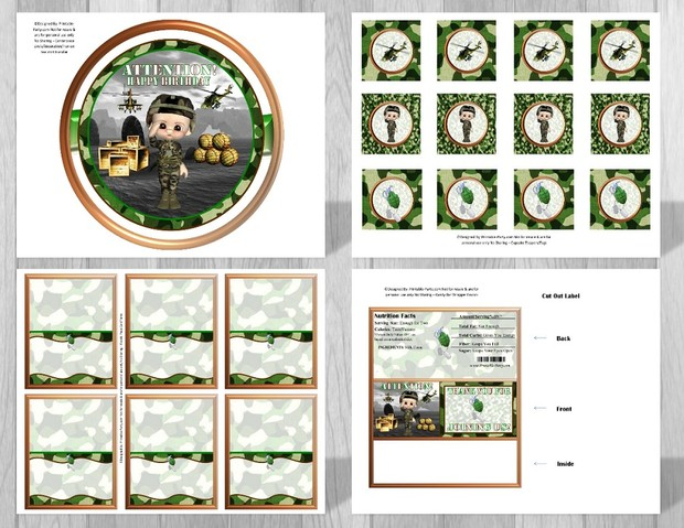 Printable Military Camouflage Party Supplies