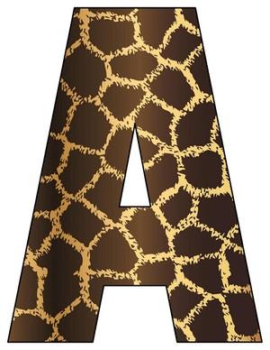 8X10.5  Inch Giraffe Printable Letters A-Z, 0-9