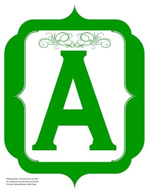 fancy-green-printable-banners-letters-numbers