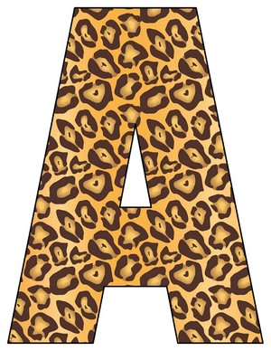 8X10.5  Inch Leopard Printable Letters A-Z, 0-9