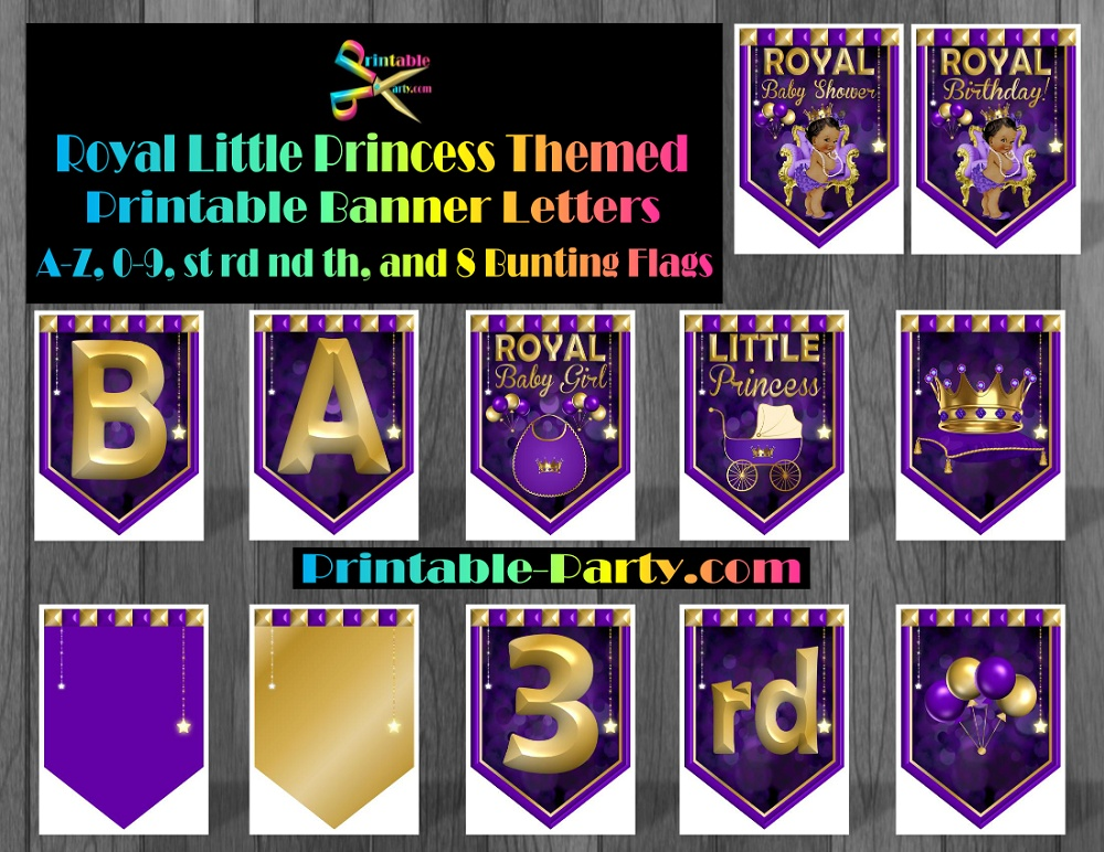 photo relating to Printable Baby Shower Banners identify royal-minor-princess-themed-printable-little one-shower-banner-alphabet-letters