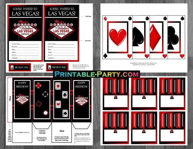 Las Vegas Casino Printable Party Supplies Red Black
