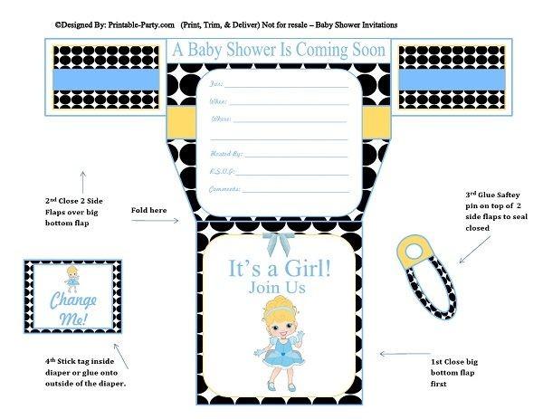 black-white-polka-dots-cinderella-diaper-girl-printable-baby-shower-invitation