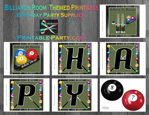 Printable Billiards Room Party Supplies