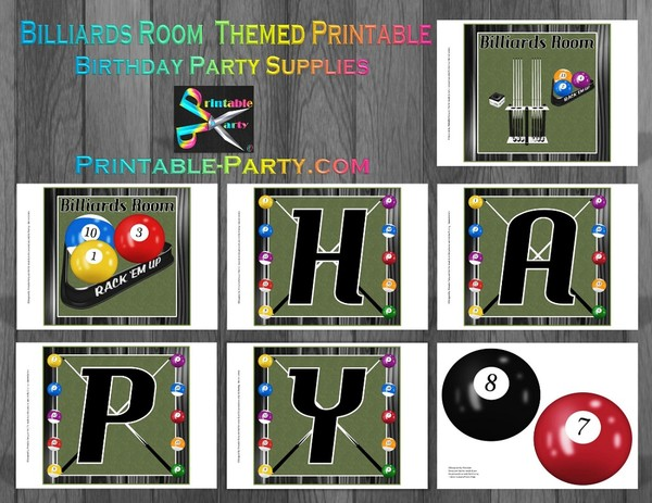 Printable Billiards Room Party Supplies