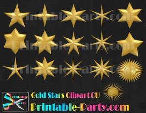 Gold Star Clipart Commercial Use