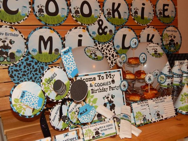 Milk & Cookies Blue Cow Printable Party Supplies