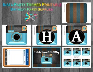 Insta-Party Printable Birthday Supplies-Blue Orange