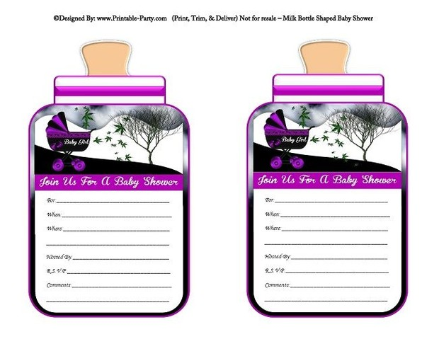 printable-purple-black-carriage-stroller-girl-baby-bottle-shaped-baby-shower-invitations