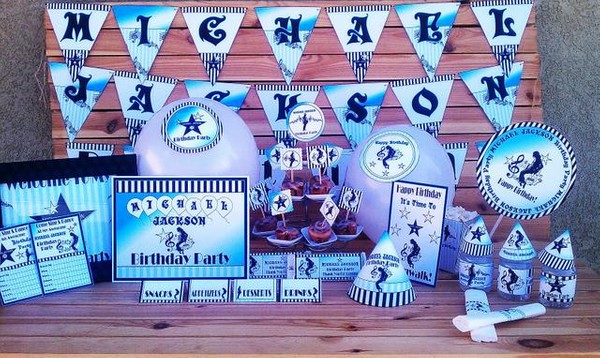 Printable Michael Jackson Party Supplies Aqua Blue & Black