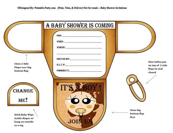 Map Vanilla Baby Boy Shower Printable Invitations