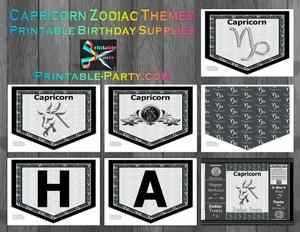 Capricorn Zodiac Theme Printable Birthday Decorations