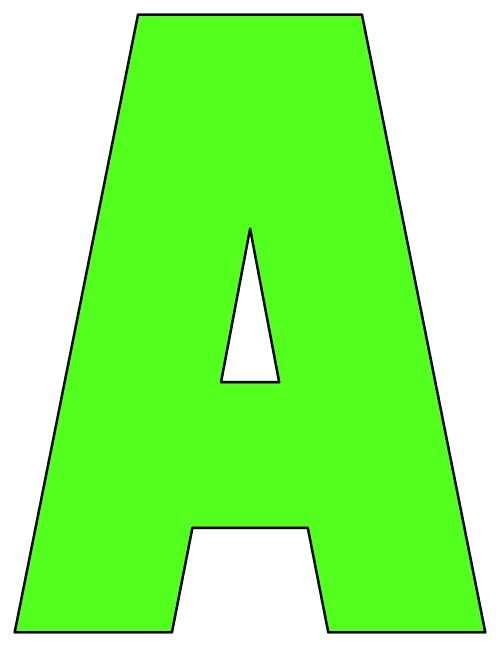 8X10.5  Inch Lime Green Printable Letters A-Z, 0-9