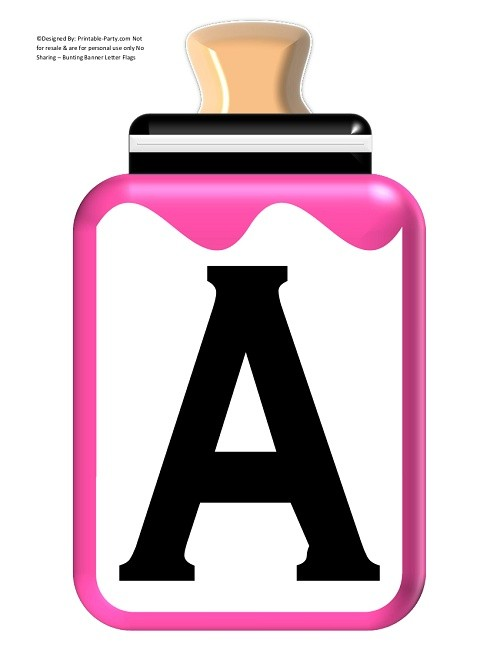 LARGE-PINK-BLACK-BABY-BOTTLE-BANNER-LETTERS