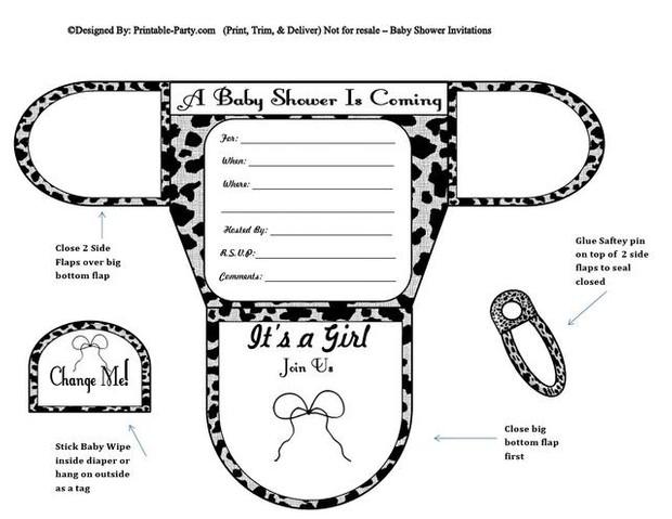 Grey & Black Cow Girl Diaper Baby Shower Invitations