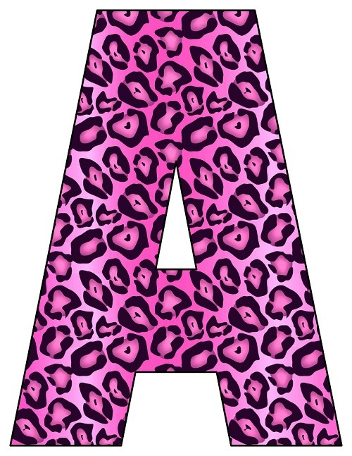 8X10.5  Inch Pink Leopard Printable Letters A-Z, 0-9