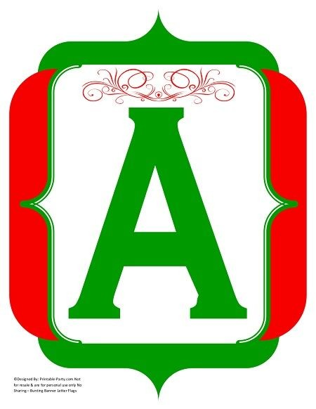 Fancy Red Green Printable Banners Letters Numbers